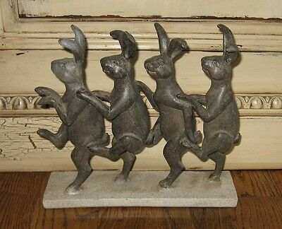 Four Dancing BUNNY RABBIT Statue/Door Stop*Primitive/French Country Farmhouse