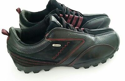 Geox Respira Men's Black Italian Leather Casual Sneakers Size 6 ~ $95 Retail