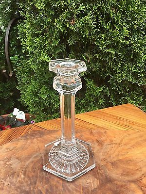 "ANTIQUE 7"" CLEAR GLASS CANDLE STICK HOLDER Hexagon top & bottom 6 panels EAPG"