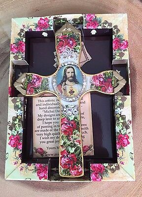 Crucifix Wall Cross, Decorated Jesus wall cross, Catholic gift, handcrafted
