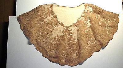 French? Antique Needle Lace Collar. Ecru Color. Very large Dress Collar. Origina