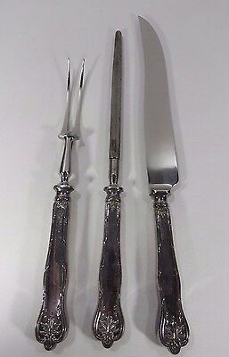 Sheffield England Stainless Steel Silver Plated 3 Piece Vintage Carving Set JH