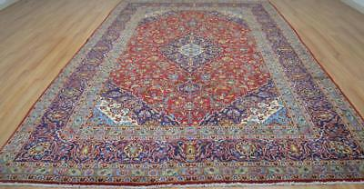 8'1 x 12'3 Beautiful Authentic Semi Antique Persian Kashan Hand Knotted Wool Rug