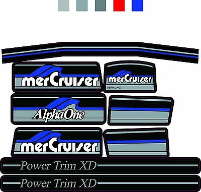 MERCRUISER THE MOST COMPLETE BLUE ALPHA ONE GEN ONE WITH BLUE RAMS STICKER SET