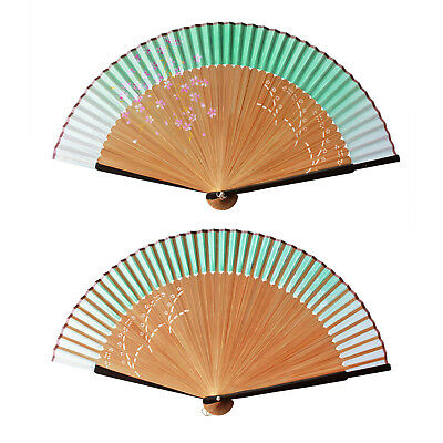 Chinese Silk Bamboo Folding Hand Fan Wedding Party Flower Pattern Vintage Gift