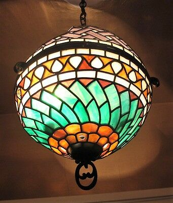 Very Fine Antique Stained Leaded Art Glass Ceiling Lamp  SIGNED!!!!!  c. 1910