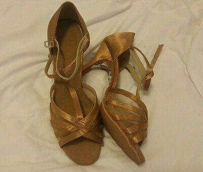 Very fine dance shoes latin ballroom salsa brown satin  modified
