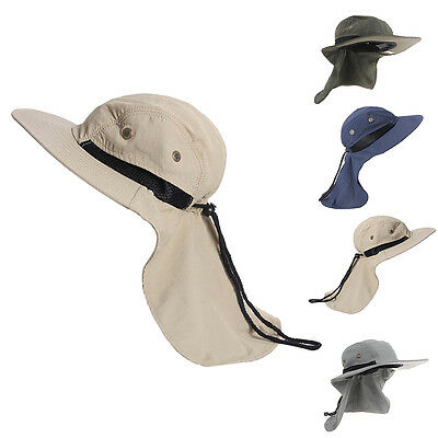 Outdoor Fishing Hiking Hunting Boonie Snap Hat Brim Ear Neck Cover Sun Flap Cap