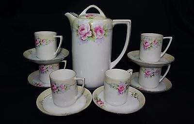 Vintage Noritake 'M' Morimura Nippon Coffee/tea pot cup set Handpainted