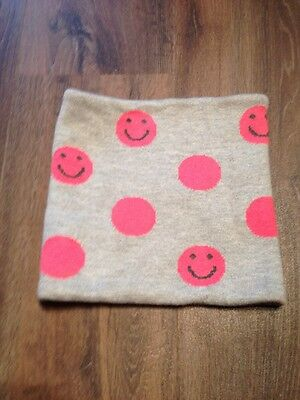 Girl's Gap Kids Neck Warmer With Smiley Faces Gray And Pink One Size