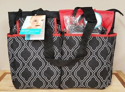 NEW Baby Essentials 5-in-1 Diaper Bag with Changing Pad, Bottle Bag & Wipe Case