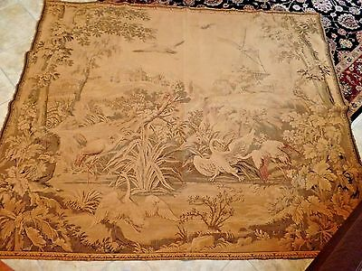 Tapestry Heron Bird Nature Aubusson French Tapestry Antique Silk linen  62/ 74