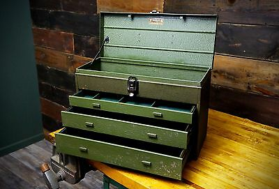 Kennedy 463 Military Green Industrial Machinist Tool Box Steel Vintage 3 drawer