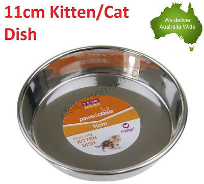 Heavy duty Kitten Metal Stainless Steel Dish Pet Food Water Plate Dog Cat Puppy