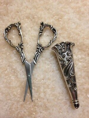 VINTAGE Estate Ornate Handled Sewing Embroidery Scissors Sterling Silver Sheath