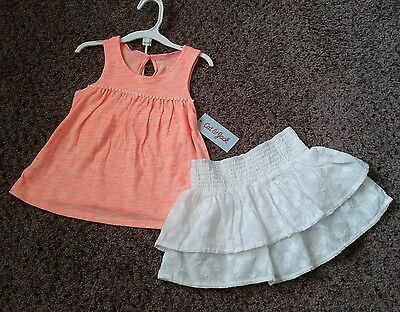 NWT Neon Pink Tank Top and White Ruffle Skirt Size 3T