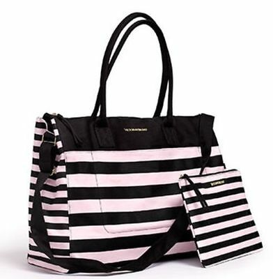 NWT Victoria's Secret Black Pink Striped Getaway Travel Bag & Matching Pouch