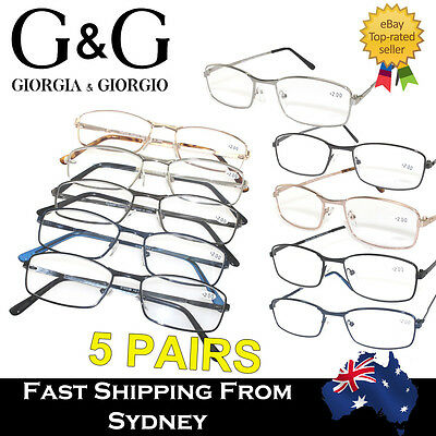 5 Pairs Bulk Sale Metal Frame Magnifying Reading Glasses +1.0~+3.5 MIXED COLOR