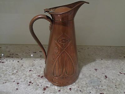 Antique Art Nouveau J.s & S Solid Copper  2 Pint Pitcher Made In England