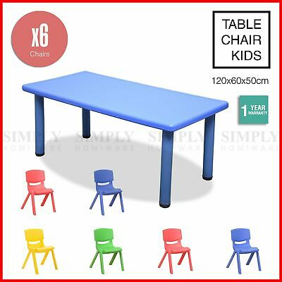 Kids Table and 6 Chairs Set Children Activity Large Plastic Play Outdoor 120x60