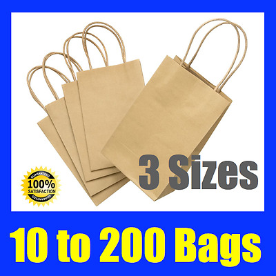 Brown Craft Paper Gift Carry Bags With Paper Handles 3 Sizes Available