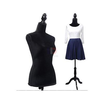 New Black Female Mannequin Torso Clothing Display W/ Black Tripod Stand