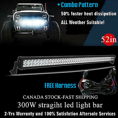 52 inch LED Light Bar Off Road Truck Driving Boat Fog Ford Jeep SUV 4x4 UTE 50