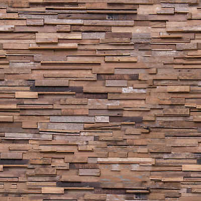 Recycled Teak Wall Paneling CONSTANTIN 1 Sq Metre per Box (8 Pieces)