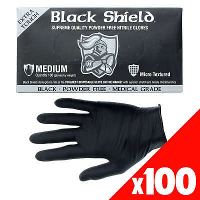 Black Shield Nitrile Gloves Safety Extra Heavy Duty Low Sweat Box of 100 Medium