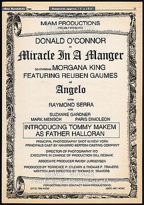 A TIME TO REMEMBER__Orig. 1985 Trade Print AD__DONALD O'CONNOR_MIRACLE IN MANGER