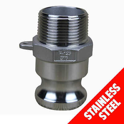 "Camlock STAINLESS STEEL 316 25mm (1"") Type F Male Adaptor x Male Cam Lock"