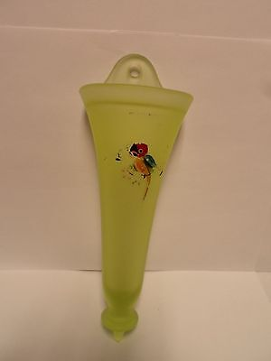 Antique Green Glass Hanging Flower Vase * Hand Painted bird on Vase