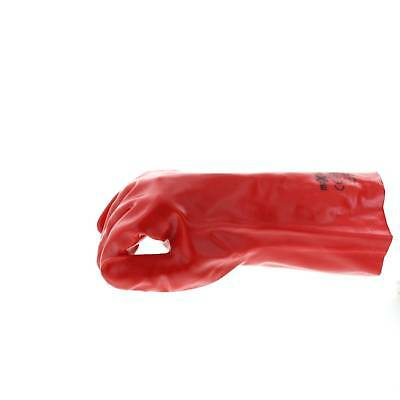 Red PVC Chemical Gloves 35cm Pair Safety Dipped Oil Resistant One Size Fits All