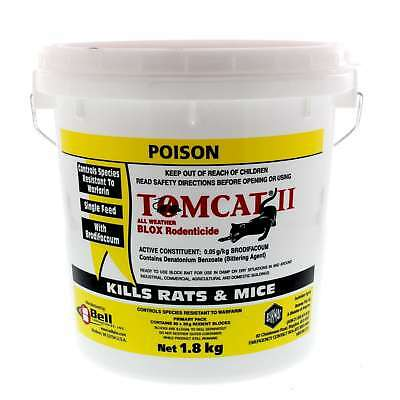 Bell Labs Tomcat II Rat Blox All Weather Rodenticide Brodifacoum 1.8kg Red