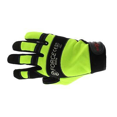 G-Force Hi Vis Mechanics Riggers Gloves Large Pair Safety Synthetic Leather Work