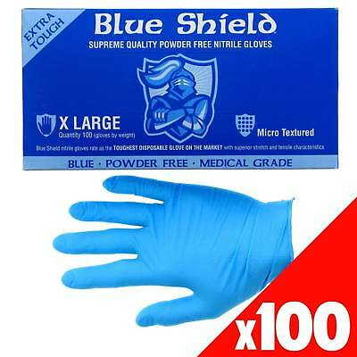 Blue Shield Nitrile Gloves Safety Extra Heavy Duty Low Sweat Box of 100 XL