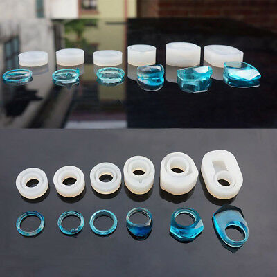 6x Ring Making DIY Accessories Craft Mould Tool Mold Silicon Transparent Jewelry