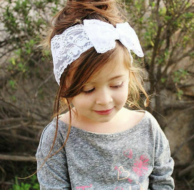 Kids Girl Baby Toddler Lace Bowknot Headband Hair Band Headwear Accessories