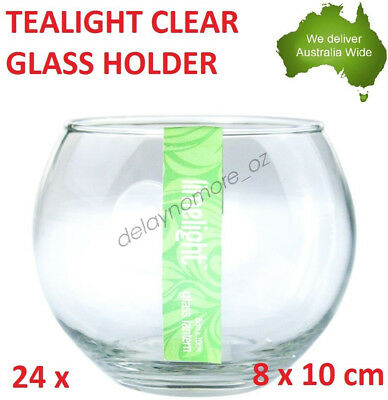 24x Glass Round Tealight Candle Holder Clear Tea Light Fish Bowl Holders Wedding