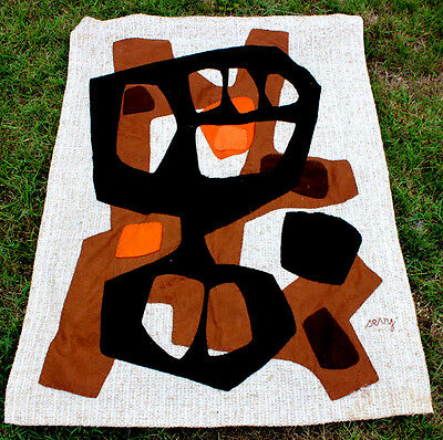 ancien tapisserie abstraction signé Sevy vers 1970 vintage design