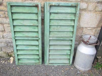 VINTAGE WOODEN SHUTTERS FRENCH LOUVER SHABBY 103x92 cm  WINDOW SHUTTERS