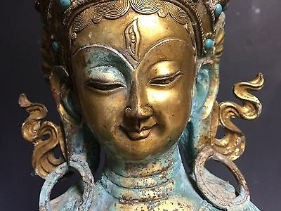 Rare Chinese ancient superb bronze gild kwan-yin statue