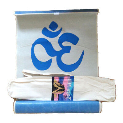Natural Excercise Mat For Ashtanga Yoga With Blue Om Symbol and Carry Bag