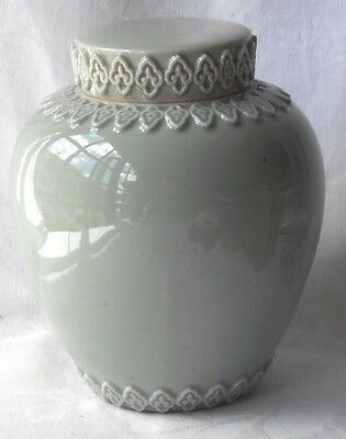 Chinese Celadon Vase And Cover With Relief Moulded Decoration