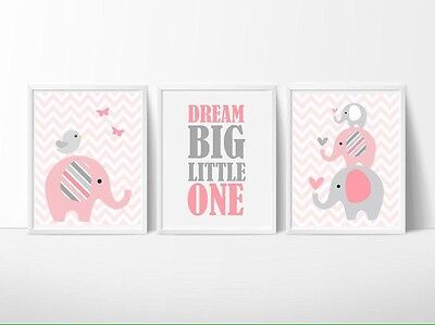 SALE On Now! Nursery Wall Art Print ~ Dream Big Baby Pink Elephants ~ 3 pce set