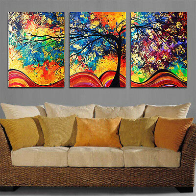 3pcs Colorful Tree Canvas Print Painting Picture Home Art Wall Decor Framed
