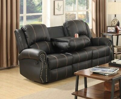 Modern Cinema Sofa 3 Seater Comfy Tv Settee Black Large Couch Home