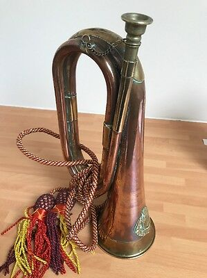 Antique / Vintage Brass Australian University Bugle - mouth piece & Tassels