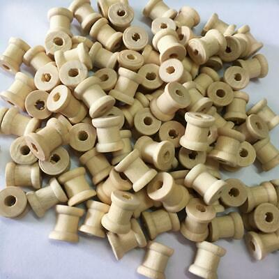 100pcs Natural Wooden Empty Spools for Thread String Ribbons Trims 14mmx12mm