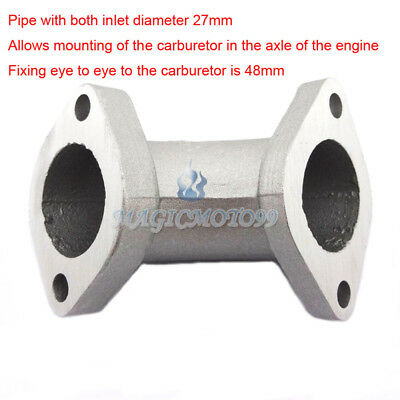 27mm Angled 0° Intake Manifold Pipe For 125cc 140 150 160cc 170cc Pit Dirt Bike